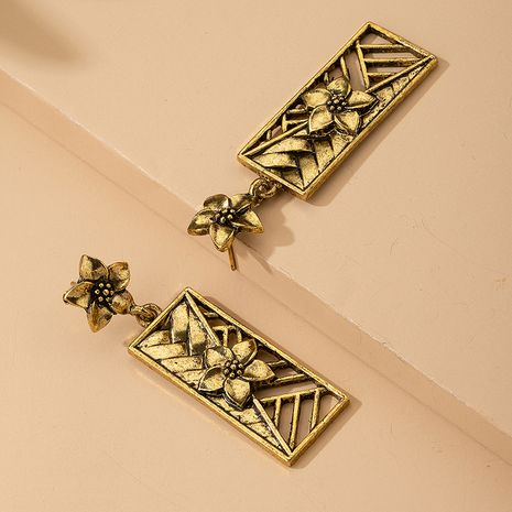 New French retro flower earrings geometric hollow simple palace earrings square earrings wholesale NHAI239685's discount tags