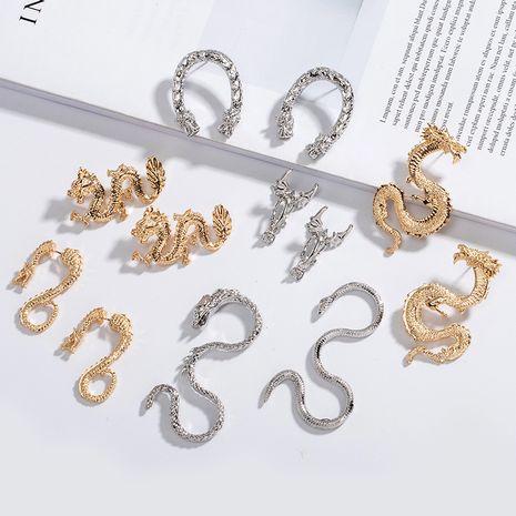 nouveau long métal exagéré en forme de dragon animal zodiaque dragon boucles d'oreilles en gros nihaojewelry NHAI239687's discount tags
