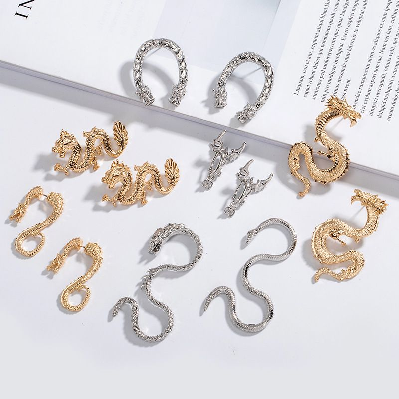 new long metal exaggerated dragonshaped  animal zodiac dragon earrings wholesale nihaojewelry NHAI239687