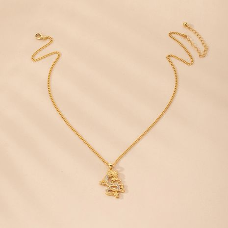 Fashion new retro dragon-shaped diamond niche clavicle chain necklace for women NHAI239690's discount tags