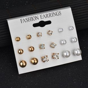 Korean earrings large and small pearl earrings 9 pairs wholesale  NHDM239713's discount tags