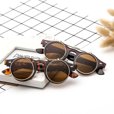 European and American trend flip-top round double-layer retro steampunk sunglasses NHBA239730's discount tags