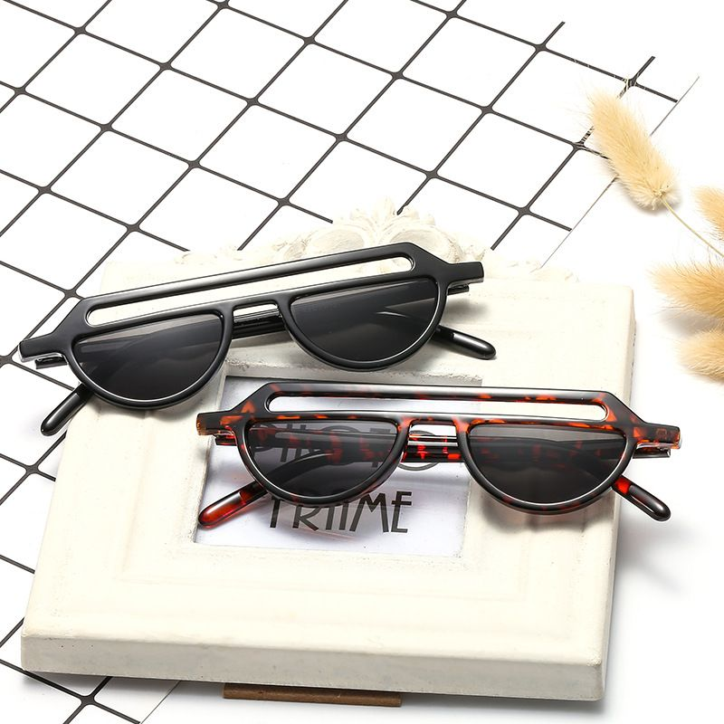 Parallel bar semicircle sunglasses fashion new trendy irregular frame trendy sunglasses for women NHBA239745