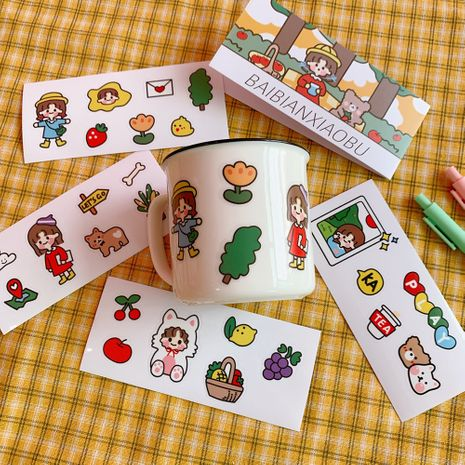 cute girl sticker detachable waterproof PVC hand account book decoration material small sticker wholesale NHZE239772's discount tags
