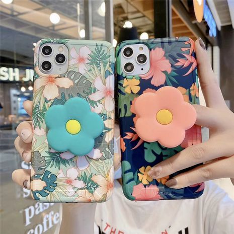Retro flower mobile phone case for iPhone7p XS SE2 11Pro MAX anti-fall bracket wholesale NHFI239876's discount tags