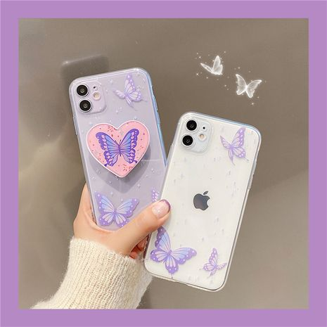 Dream Purple Butterfly Epoxy Bracket Mobile Phone Case for iPhoneXS 7plus SE2 11Pro wholesale NHFI239883's discount tags