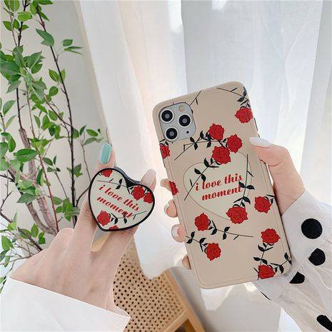 Korean style rose holder mobile phone case iPhone 7p X XS SE2 silicone soft cover wholesale nihaojewelry NHFI239885's discount tags