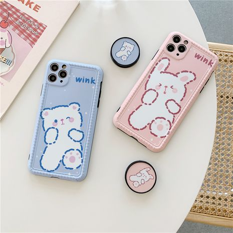 Korean style cute bear stand mobile phone shell silicone iPhone XSMAX XR SE 11Pro wholesale NHFI239888's discount tags