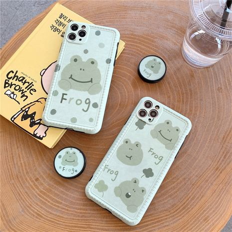 Cartoon frog bracket cover for iPhone XS SE 11 pro mobile phonecase silicone anti-drop wholesale NHFI239889's discount tags