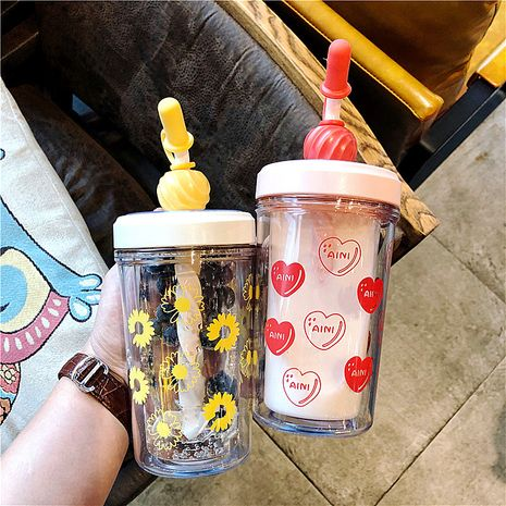 Double-layer mixing cup straw plastic portable Korean and insulated sports casual water cup for women  NHtn239927's discount tags