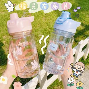 Beautiful girl heart double layer plastic cup Korean student portable large capacity cute water cup NHtn239935's discount tags
