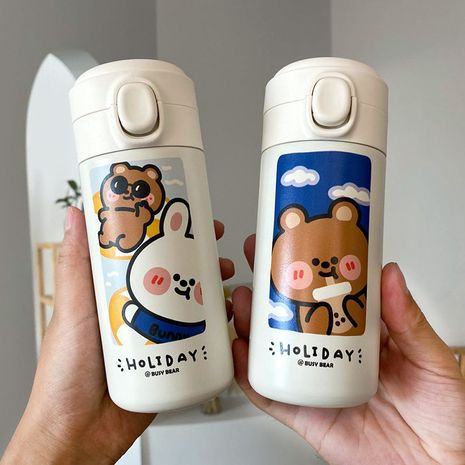 Simple and cute fun 3D printing fashion bear portable sports insulation cup NHtn239951's discount tags