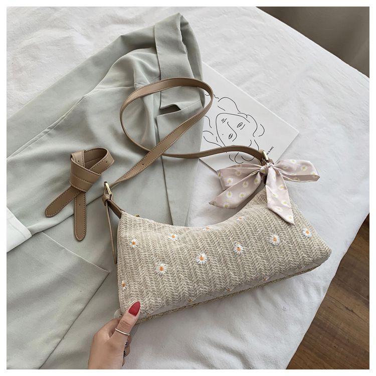 korean simple woven bag  new trendy fashion  bag popular underarm shoulder bag wild messenger straw bag nihaojewelry wholesale NHTC231704