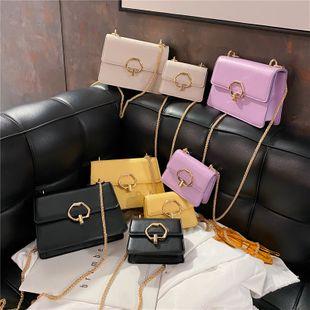 nouvelle mode simple couleur unie chaîne messenger sac femme rétro casual flip épaule petit sac carré en gros NHPB231757's discount tags