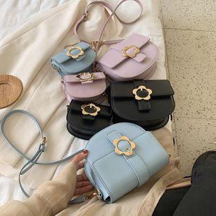 nouvelle mode fleur sauvage serrure en métal mini sac de selle à la mode couleur unie sac à bandoulière en gros NHPB231762's discount tags