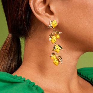 Pendientes de aleación de aceite de gota de limón pendientes naturales de moda al por mayor nihaojewelry NHJQ231775's discount tags