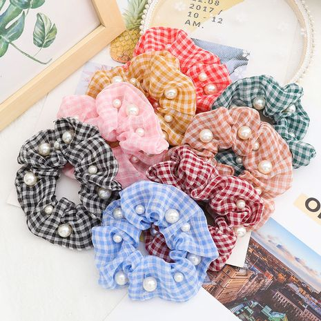 Fashion Korean campus style yarn fabric with pearls Korean hair ring large intestine ring hair jewelry wholesale nihaojewelry NHJE231779's discount tags