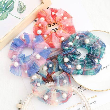 Korean campus style fashion striped lattice fabric inlaid with pearls Korea hair ring wholesale nihaojewelry NHJE231780's discount tags