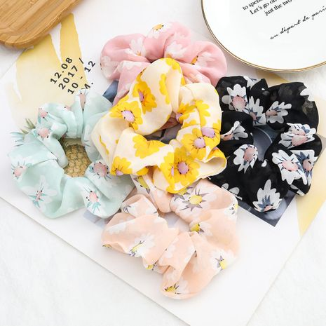 Stylish high-end chiffon fabric white big flower printing sweet Korean hair ring large intestine ring wholesale nihaojewelry NHJE231781's discount tags