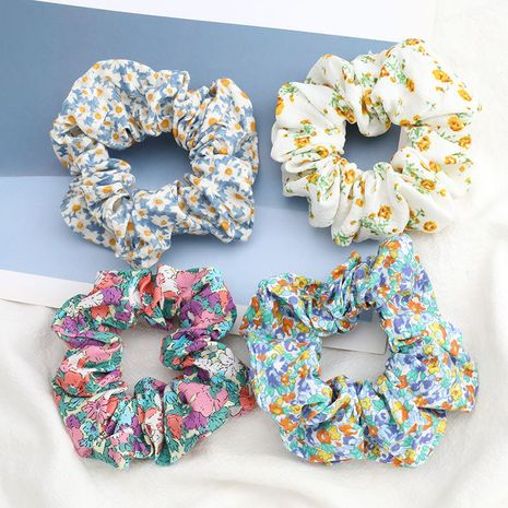 hot fashion small floral print fabric cloth Korean hair ring girl flower large intestine ring head rope wholesale nihaojewelry NHJE231785's discount tags
