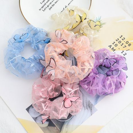 Korean lace fabric hair circle girl heart butterfly large intestine circle head rope wholesale nihaojewelry NHJE231786's discount tags