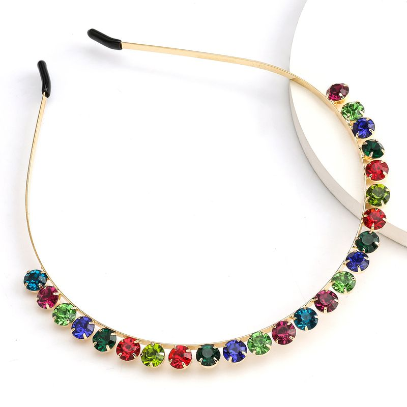 Fashion alloy round full diamond color diamond super flash headband trend headband wholesale nihaojewelry NHJE231788
