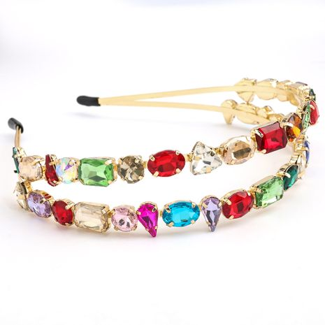 hot-selling double-layer alloy diamond geometric glass drill super flash hair hoop fashion headband wholesale nihaojewelry NHJE231790's discount tags