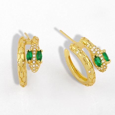 fashion jewelry creative snake earrings micro-set zircon simple earrings  wholesale nihaojewelry NHAS231799's discount tags
