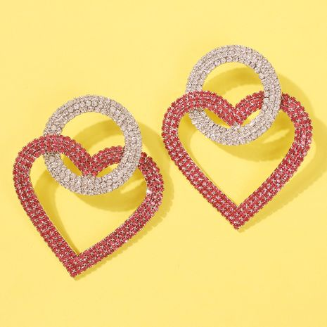 fashion style round love interlocking diamond earrings fashion super flash full diamond earrings wholesale nihaojewelry NHMD231802's discount tags