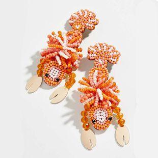 pendientes de langosta tejidas a mano pendientes de perlas de animales salvajes exagerados al por mayor nihaojewelry NHMD231803's discount tags