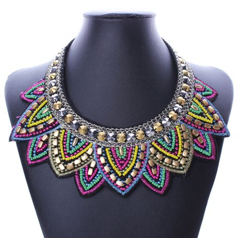 fashion exaggerated retro ethnic style Mizhu collar necklace jewelry wholesale nihaojewelry NHMD231806's discount tags