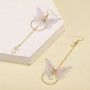Korean super fairy asymmetric butterfly long tassel earrings circle pearl zircon earrings retro simple earrings wholesale nihaojewelry NHPF231838's discount tags