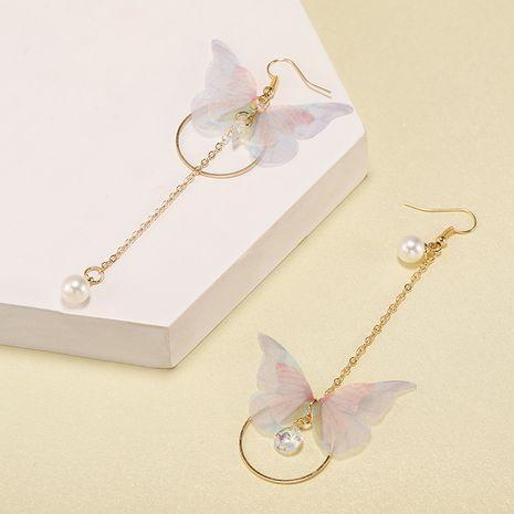 Korean super fairy asymmetric butterfly long tassel earrings circle pearl zircon earrings retro simple earrings wholesale nihaojewelry NHPF231838's discount tags