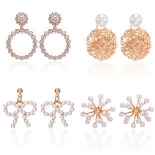 Korean large circle pearl earrings with diamonds bird nest earrings cute bow earrings wholesale nihaojewelry NHPF231840's discount tags