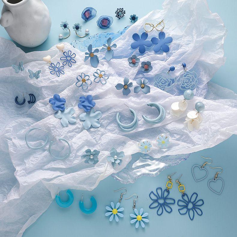 925 silver needle new popular haze blue simple earrings wholesale nihaojewelry NHMS231844