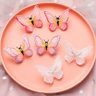 Mariposa ligera mariposa de doble capa bordado tridimensional pendientes de mariposa de color 925 pendientes de aguja de plata al por mayor nihaojewelry NHMS231855's discount tags