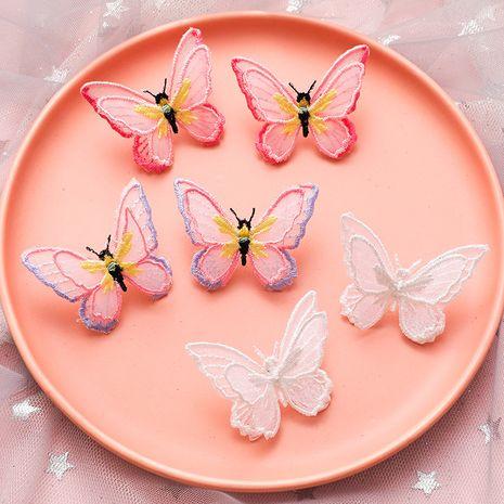 Papillon léger double couche papillon en trois dimensions broderie couleur papillon boucles d'oreilles aiguille en argent 925 boucles d'oreilles en gros nihaojewelry NHMS231855's discount tags