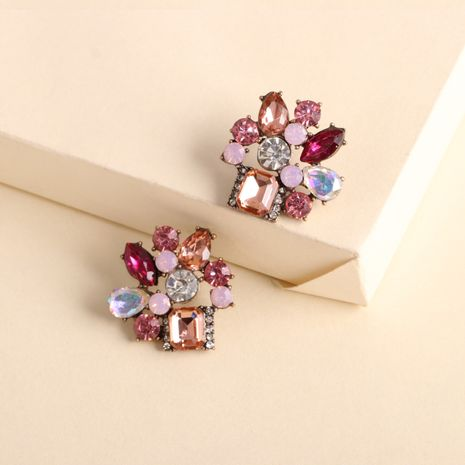 exaggerated geometric earrings new retro color crystal square earrings wholesale nihaojewelry NHJJ231859's discount tags
