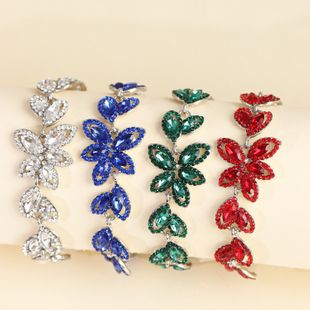 fashion jewelry creative alloy diamond leaf bracelet wholesale nihaojewelry NHJJ231860's discount tags