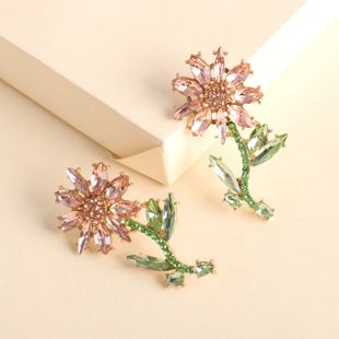 pendientes modelos creativos de moda aleación de diamantes pendientes de flores al por mayor nihaojewelry NHJJ231863's discount tags