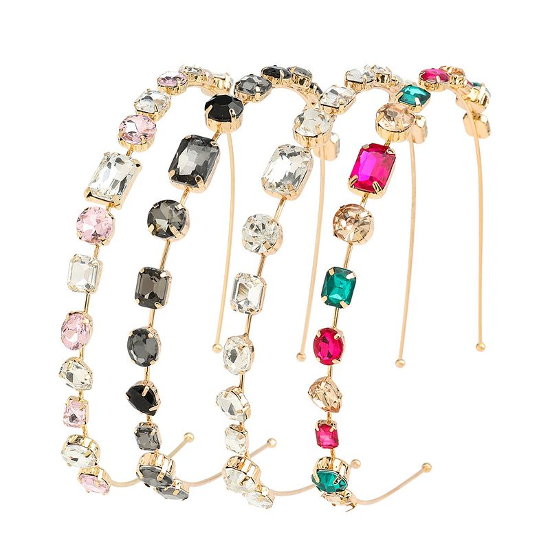 Fashion alloy diamond glass headband high-end wash face beam trend hair accessories wholesale nihaojewelry NHJE231866