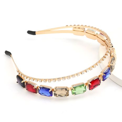 High-end style fashion new alloy diamond-set rhinestone square glass diamond double-layer hair hoop wholesale nihaojewelry NHJE231867's discount tags