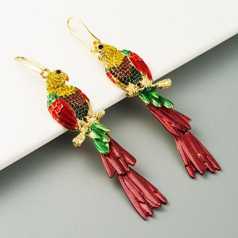 mode boucles d'oreilles perroquet de style ethnique exagéré boucles d'oreilles en alliage animal strass à la mode en gros nihaojewelry NHLN231869's discount tags