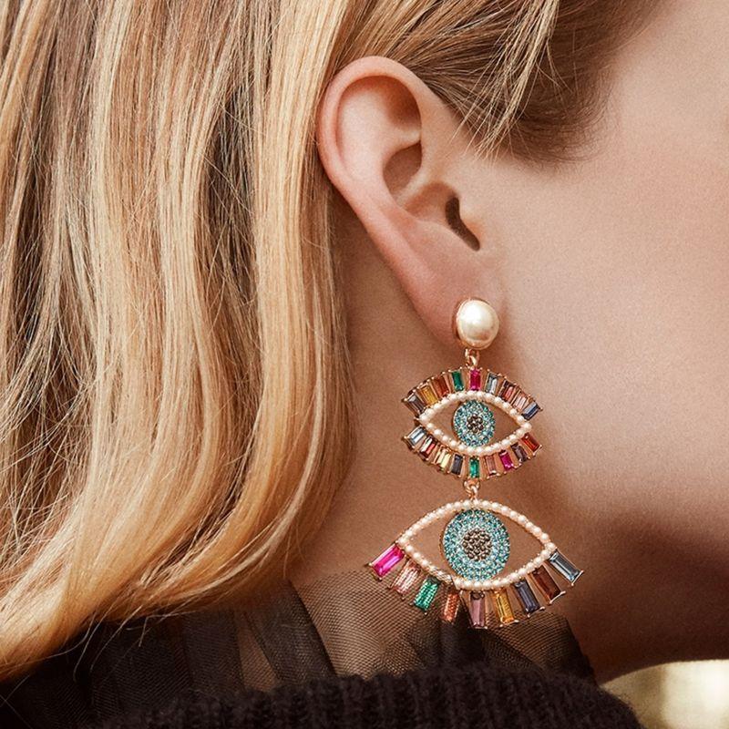 Devil's Eye Exaggerated Earrings Long Eyes Tassel Earrings Fashion Retro Rhinestone Earrings wholesale nihaojewelry NHLN231870