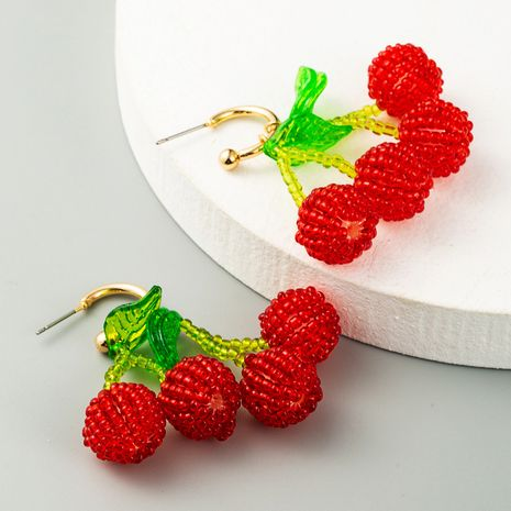 pendientes de cereza con cuentas de cristal tejido a mano pendientes de frambuesa lindos pendientes coreanos al por mayor nihaojewelry NHLN231872's discount tags