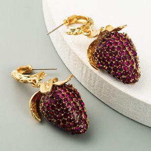 pendientes de fresa de diamante de fruta rosada nuevos pendientes exagerados al por mayor nihaojewelry NHLN231873's discount tags