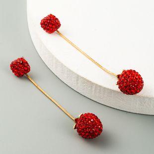 Pendientes de diamantes de párrafo largo simple pendientes de frambuesa salvaje de moda pendientes nuevos al por mayor nihaojewelry NHLN231874's discount tags
