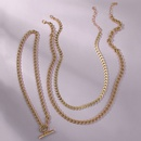 hot sale hiphop necklace jewelry creative golden chain necklace sweater chain wholesale nihaojewelry NHMD231878