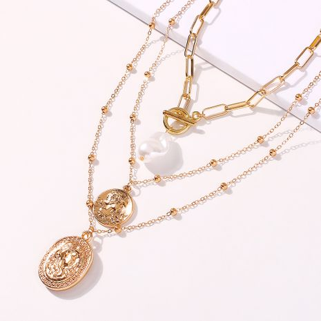 new exaggerated coin pendant long sexy necklace simple retro flower necklace wholesale nihaojewelry NHMD231881's discount tags