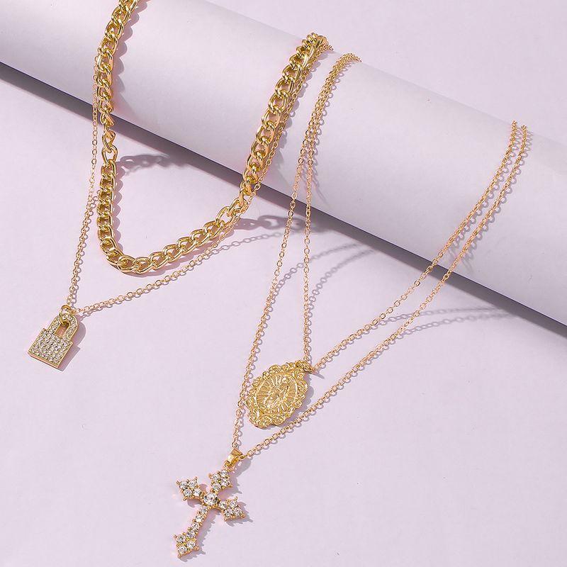 new cross multilayer necklace wild retro fashion pendant clavicle chain wholesale nihaojewelry NHMD231882